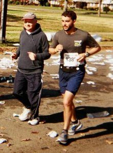 Scott and his dad Tom running the Anthem Richmond Marathon